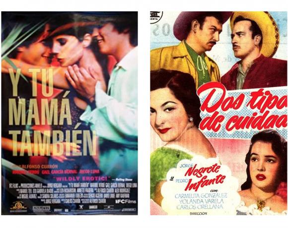 Film posters for Dos tipos de cuidado and Y Tu Mama Tambien