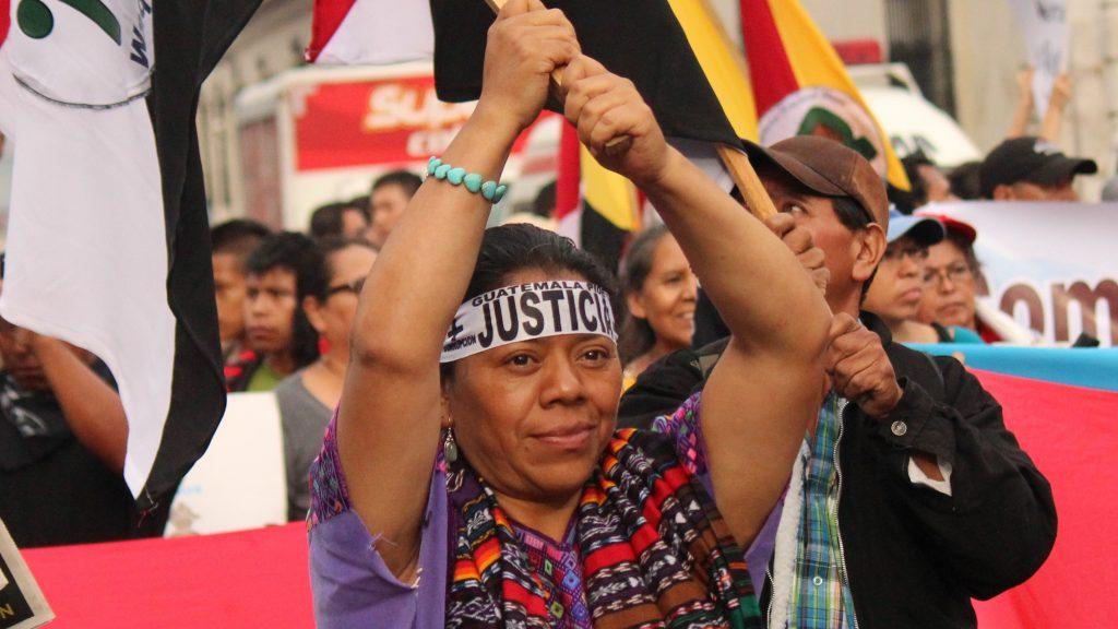 Aura Lolita Chavez Ixcaquic protesting.