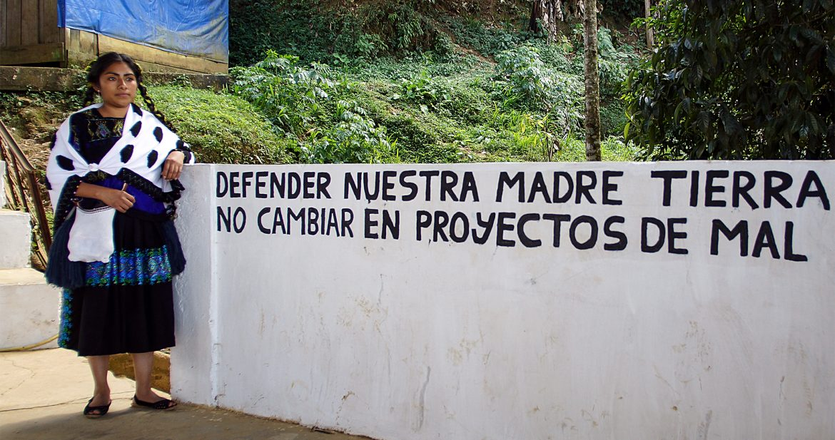 "A picture of Guadalupe Vázquez Luna with a sign that says in English, ""Defend our mother earth. Do not convert it into bad projects."""